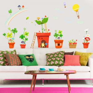 Creative Decoration Cartoon 3D Potted House Wall Sticker -