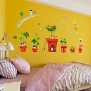 Décoration créative Cartoon 3D en pot maison mur autocollant -