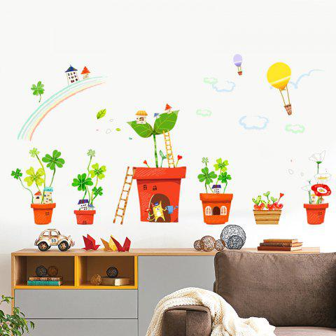 Store Creative Decoration Cartoon 3D Potted House Wall Sticker