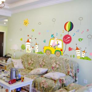 Creative Decoration Cartoon 3D Rabbit Driver Wall Sticker -