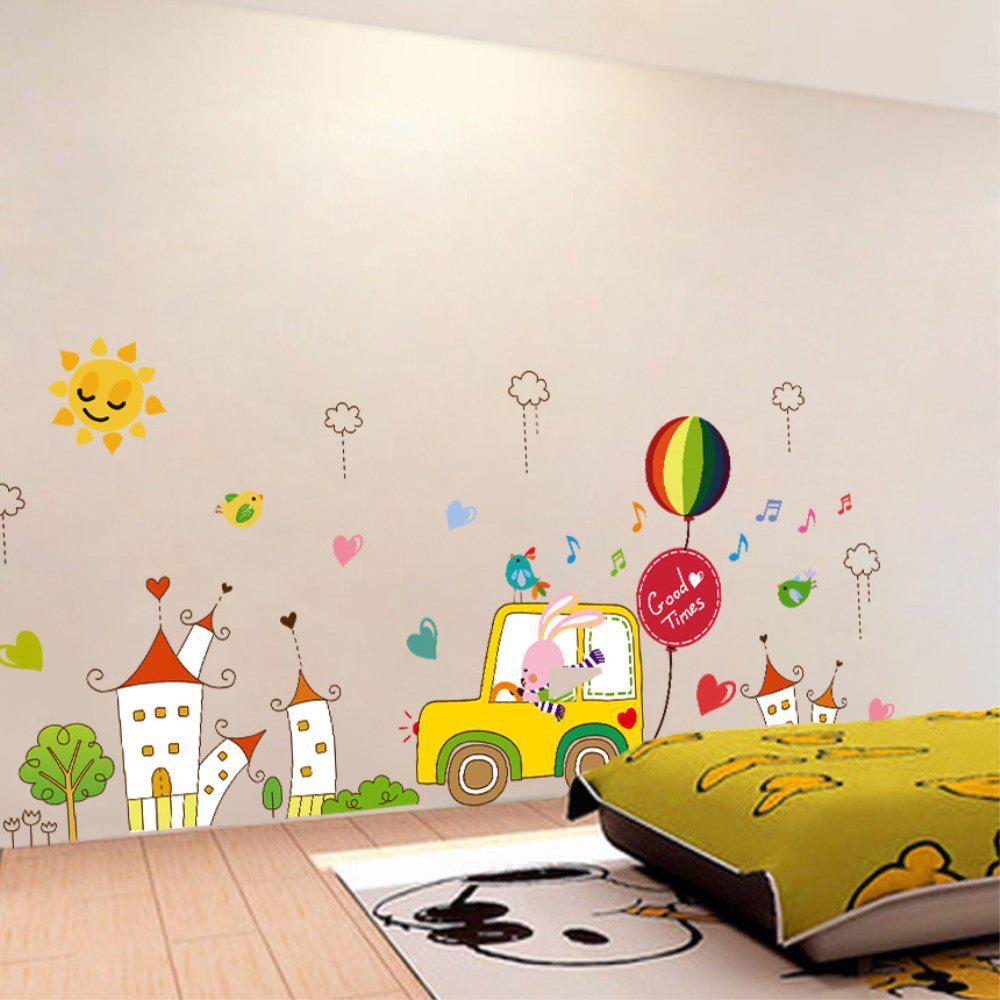 Fancy Creative Decoration Cartoon 3D Rabbit Driver Wall Sticker