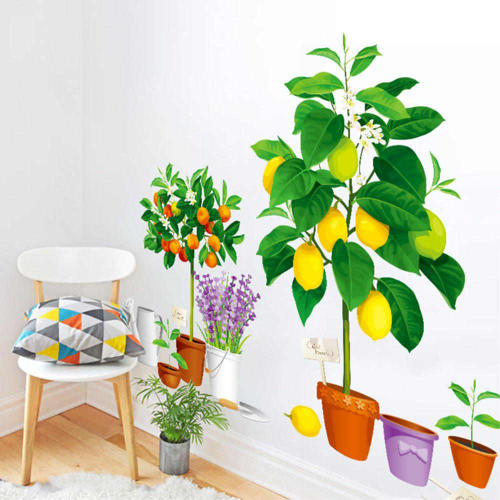 Trendy Creative Decoration Cartoon 3D Fruit Potted Wall Sticker