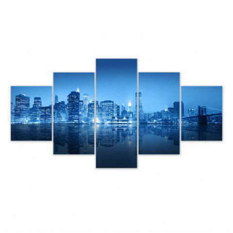 Sale W315 Urban Night Scene Unframed Wall Canvas Prints for Home Decorations 5PCS