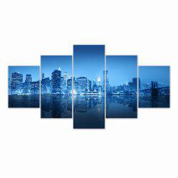 W315 Urban Night Scene Unframed Wall Canvas Prints for Home Decorations 5PCS -