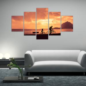 W316 Riding in the Sunset Unframed Wall Canvas Prints for Home Decorations 5PCS -