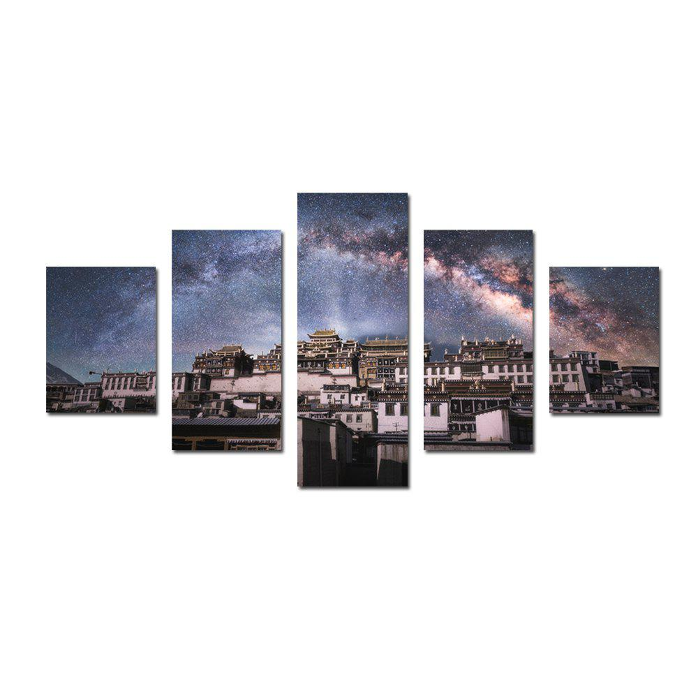 Store W325 Village Under Star Unframed Wall Canvas Prints for Home Decorations 5PCS