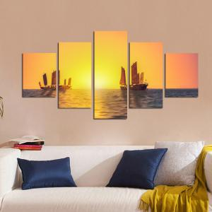 W326 Sailing on the Sea Unframed Wall Canvas Prints for Home Decorations 5PCS -