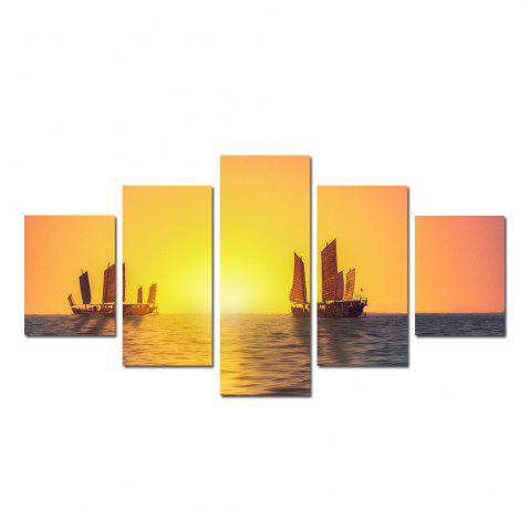 Chic W326 Sailing on the Sea Unframed Wall Canvas Prints for Home Decorations 5PCS