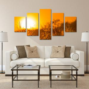 W327 Sunset Grass Unframed Wall Canvas Prints for Home Decorations 5PCS -