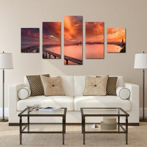 W329 Cross-Sea Bridge Unframed Wall Canvas Prints для домашних украшений 5PCS -