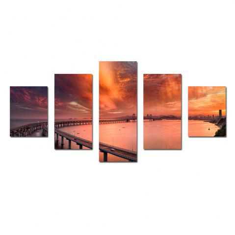 W329 Cross-Sea Bridge Unframed Wall Canvas Prints для домашних украшений 5PCS