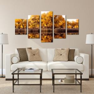 W330 Lake and Trees Unframed Wall Canvas Prints for Home Decorations 5PCS -