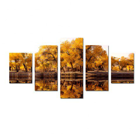 Unique W330 Lake and Trees Unframed Wall Canvas Prints for Home Decorations 5PCS