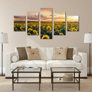 W332 Sunflowers Unframed Wall Canvas Prints for Home Decorations 5PCS -