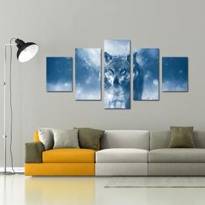 W337 Wolf Unframed Wall Canvas Prints for Home Decorations 5PCS -