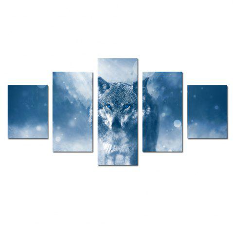 Cheap W337 Wolf Unframed Wall Canvas Prints for Home Decorations 5PCS