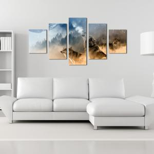W339 Forest and Wolves Unframed Wall Canvas Prints for Home Decorations 5PCS -