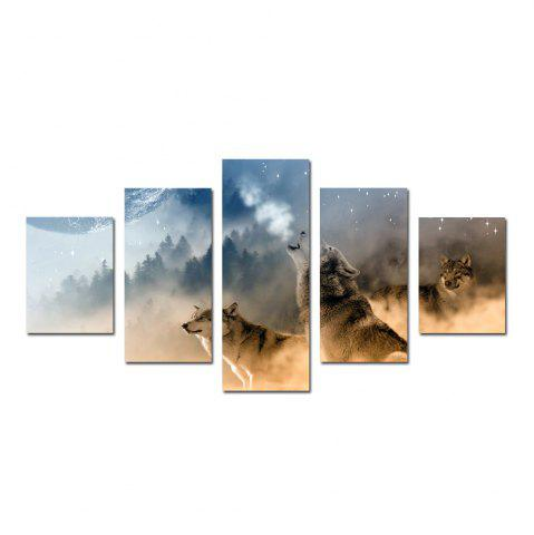 Unique W339 Forest and Wolves Unframed Wall Canvas Prints for Home Decorations 5PCS