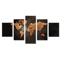 W340 World Map Unframed Wall Canvas Prints for Home Decorations 5PCS -