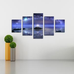 W342 Starry Sky Scenery Unframed Wall Canvas Prints для домашних украшений 5PCS -