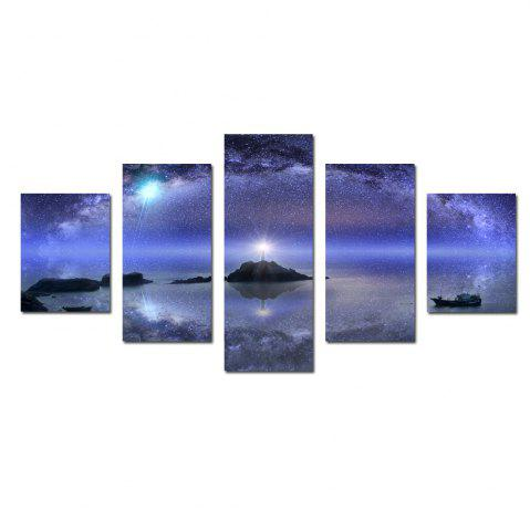 W342 Starry Sky Scenery Unframed Wall Canvas Prints для домашних украшений 5PCS