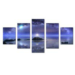 W342 Starry Sky Scenery Unframed Wall Canvas Prints for Home Decorations 5PCS -