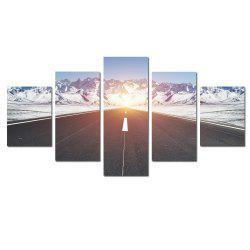 W343 Road and Snow Mountain Unframed Wall Canvas Prints Home Decorations 5PCS -