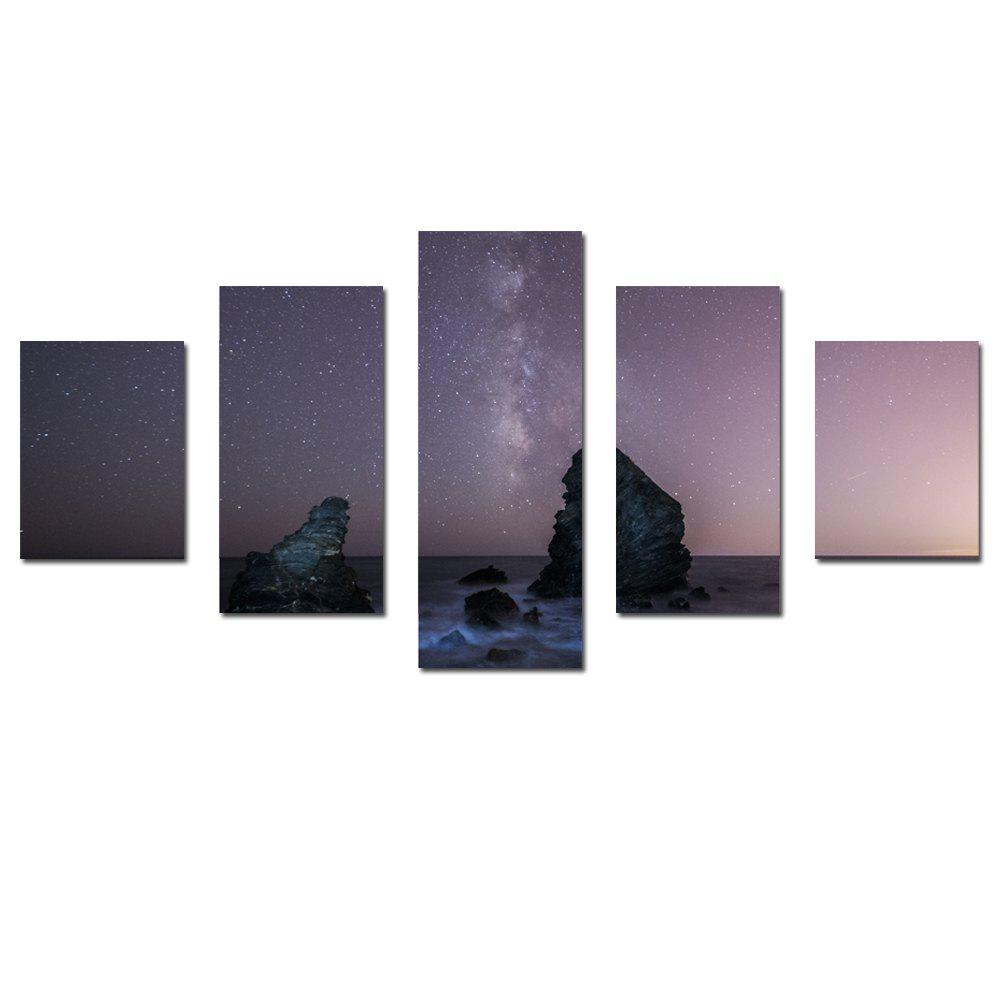 Fashion W345 Peaks Under The Stars Unframed Wall Canvas Prints for Home Decorations 5PCS