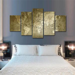 Old World Map Frameless Printed Canvas  Art Print 5PCS -