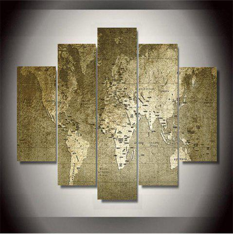 Best Old World Map Frameless Printed Canvas  Art Print 5PCS
