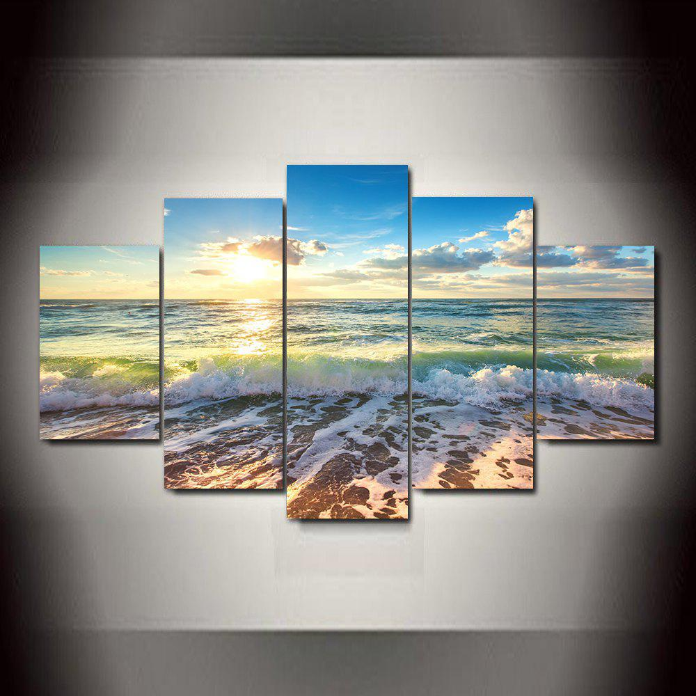 Fashion Waves Blue Sky Frameless Printed Canvas Art Print 5PCS