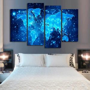 Blue Star Map Frameless Printed Canvas Wall Art Print 4PCS -