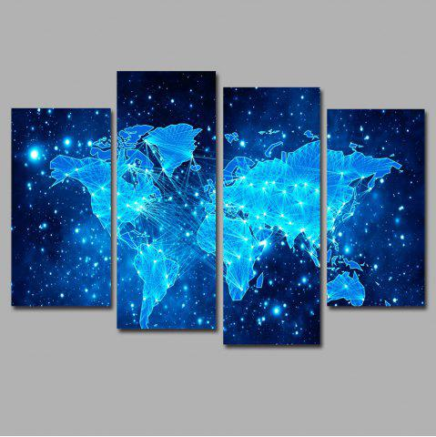 Cheap Blue Star Map Frameless Printed Canvas Wall Art Print 4PCS