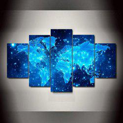 Blue Star Map  Frameless Printed Canvas  Art Print 5PCS -