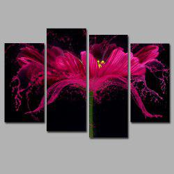 Flower Splash Frameless Printed Canvas  Art Print 4PCS -