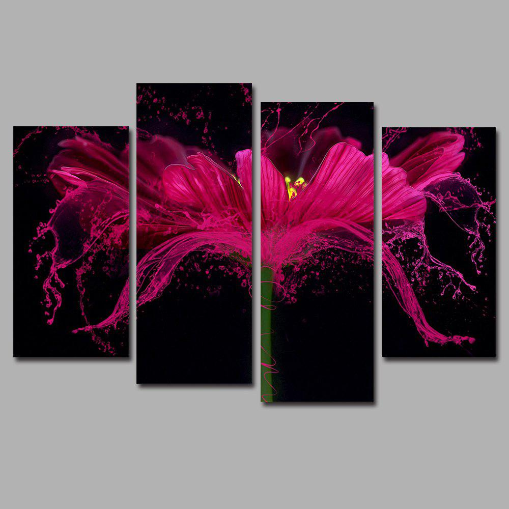 Sale Flower Splash Frameless Printed Canvas  Art Print 4PCS