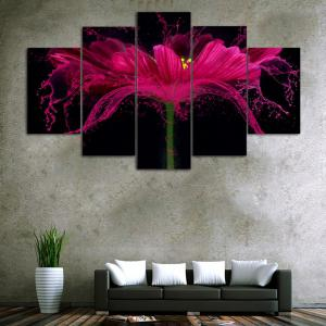 Flower Splash   Frameless Printed Canvas Art Print 5PCS -