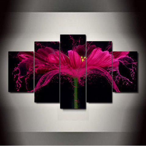 Unique Flower Splash   Frameless Printed Canvas Art Print 5PCS