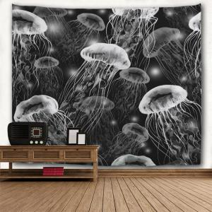Black and White Jellyfish 3D Printing Home Wall Hanging Tapestry for Decoration -