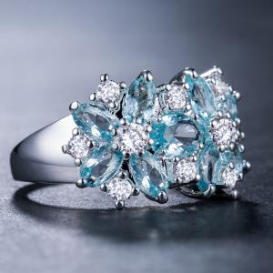 Artificial Diamond Crystal Flower Ring -