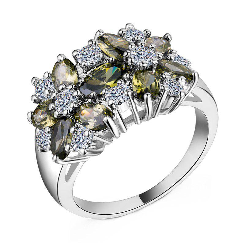 Discount Artificial Diamond Crystal Flower Ring