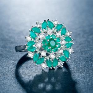 Artificial Diamond Flower Hollow Ring -