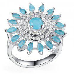 Diamond Crystal Sun Flower Frosted Ring -