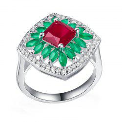 Women's Sun Flower Frosted Red Corundum Ring -