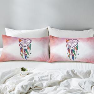 2Pcs Dreamcacher Decorative Feathers Print Pillow Case -