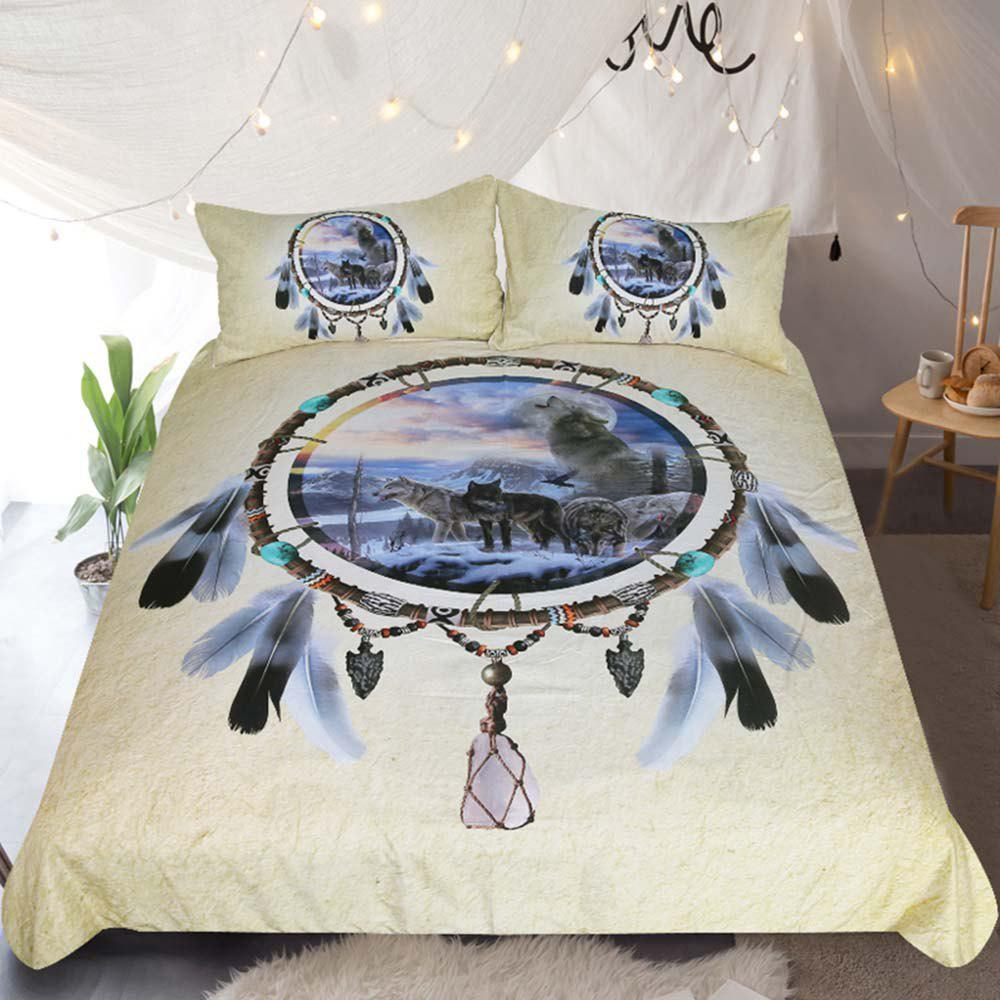 Cheap Dreamcatcher Bedding 3D Wolf Duvet Cover Set Digital Print 3pcs