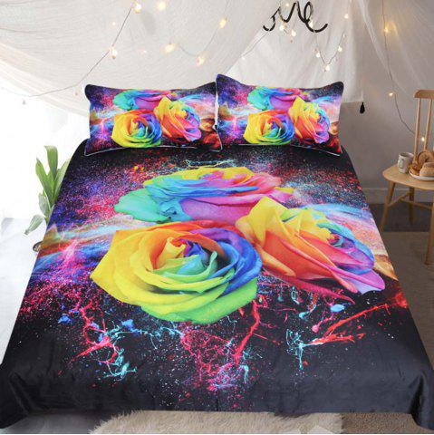 Coloré Roses Literie housse de couette Set Digital Print 3pcs