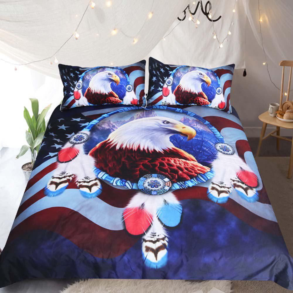 Hot Eagle Dreamcatcher Bedding Duvet Cover Set Digital Print 3pcs