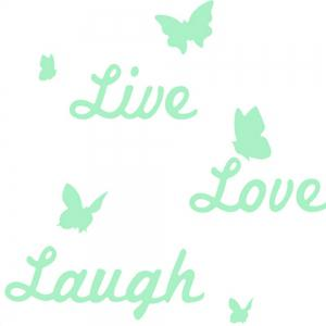 Noctilucent Engraving Adorable Live Love Laugh Cartoon Switch Wall Sticker -