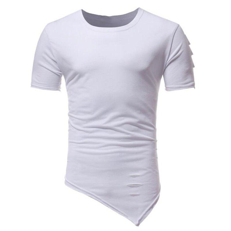 Outfit Men's Fashion Holes Short Sleeve T-shirt